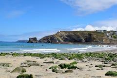 海滩的看法在Portreath,康沃尔郡,英国的 图库摄影