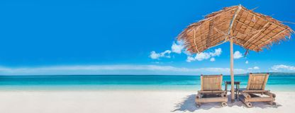 海滩的轻便马车休息室 库存照片