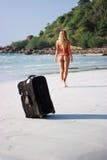海滩皮箱 库存照片