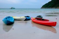 海滩皮船风景 库存照片