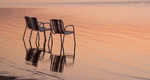 海滩睡椅三 库存照片