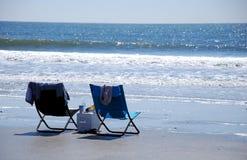 海滩睡椅休息室 库存照片