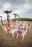 海滩睡椅和装饰 库存照片