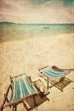 海滩睡椅晒黑二 免版税库存照片