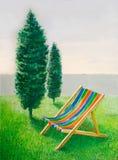 海滩睡椅横向 图库摄影