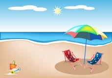 海滩睡椅的例证与伞和玩具的 免版税库存照片