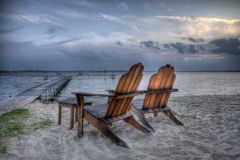 海滩睡椅hdr 图库摄影