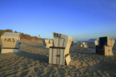 海滩睡椅sylt 免版税库存照片