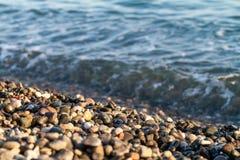海滩石头的特写镜头在俄罗斯的索契地区 免版税图库摄影