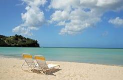 海滩离开的二重奏 免版税图库摄影