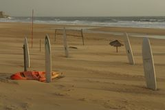 海滩空的体育运动 库存图片