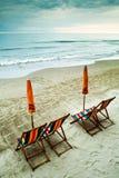 海滩空的结束夏天 免版税图库摄影