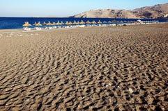 海滩空的rodos 免版税库存照片