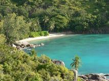 海滩美丽的塞舌尔群岛 库存图片