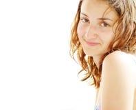 海滩美丽的女孩年轻人 免版税图库摄影