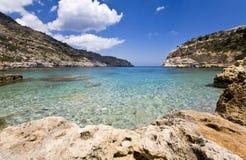 海滩美丽的希腊罗得斯 免版税库存图片