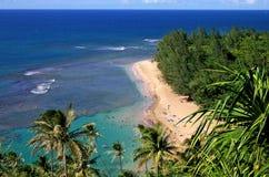 海滩美丽的考艾岛 免版税库存照片