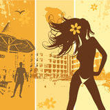 海滩美丽的节假日夏天妇女 免版税库存图片