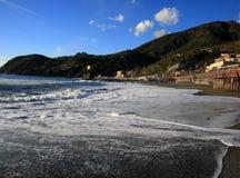 海滩美丽的levanto 免版税图库摄影