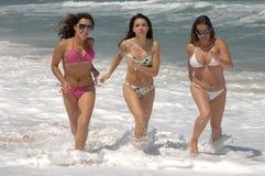 海滩美丽的s走的妇女 图库摄影