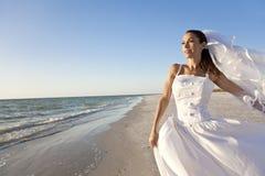 海滩美好的新娘婚礼 免版税库存照片