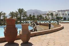 海滩美好的旅馆视图 免版税库存照片