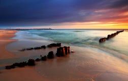 海滩美好的日出 库存照片