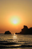 海滩美好的日落 免版税图库摄影