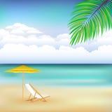 海滩美好的横向向量 免版税库存图片