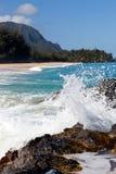 海滩考艾岛lumahai 库存图片
