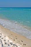 海滩脚印铺沙热带 库存照片