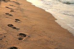 海滩脚印 免版税图库摄影