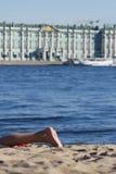 海滩脚 免版税库存图片