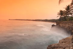海滩自然日落 免版税库存图片