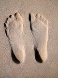 海滩英尺打印沙子 免版税图库摄影
