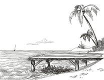 海滩草图 免版税库存图片