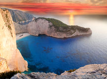 海滩著名希腊navagio zakynthos 免版税库存照片