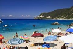 海滩蓝色希腊希腊lefkada 免版税库存照片