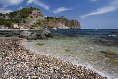 海滩西西里岛taormina 库存图片
