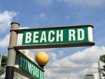 海滩路roadsign 库存图片