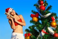 海滩辅助工s热带的圣诞老人 库存照片