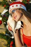 海滩辅助工s热带的圣诞老人 免版税库存照片