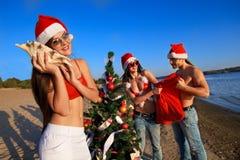 海滩辅助工s热带的圣诞老人 库存图片
