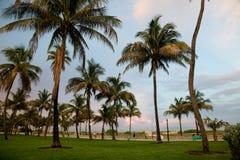海滩迈阿密掌上型计算机日落 免版税库存图片