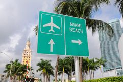海滩迈阿密符号街道 免版税库存照片