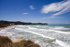 海滩通配corfu的海岛 库存图片
