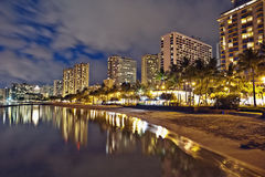 海滩都市风景夏威夷奥阿胡岛日落waikiki 库存图片