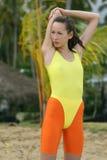 海滩锻炼 免版税库存照片