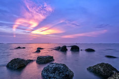 海滩长的风险照片  图库摄影