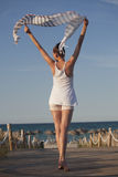 海滩面纱妇女 库存照片